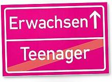 Erwachsener (Teenager) - Schild / Ortsschild rosa, Geschenk 18. Geburtstag bester Freund / Freundin, Geschenkidee Geburtstagsgeschenk zur Volljährigkeit, Kleines Geschenk 18er Geburtstagsparty