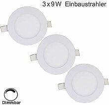 Erwei 3er 9W LED Panel Dimmbar Einbaustrahler LED