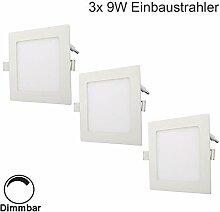Erwei 3er 9W LED Panel Dimmbar Einbaustrahler