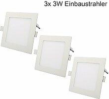 Erwei 3x 3W LED Panel Einbaustrahler Eckig Ultra