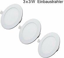 Erwei 3x 3W LED Panel Einbaustrahler Rund Ultra