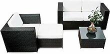 erweiterbares 12tlg. Polyrattan Lounge Möbel Set Balkon - schwarz - Sitzgruppe Garnitur Gartenmöbel Balkon Lounge Terrasse - inkl. Lounge Sofa + Sessel + Hocker + Tisch + Kissen