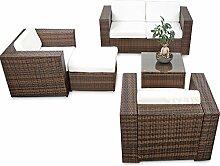 erweiterbares 15tlg. XXXL Polyrattan Lounge Sofa Set kaufen - braun-mix - Sitzgruppe Garnitur Gartenmöbel Lounge Möbel Set - inkl. Lounge Sofa + Sessel + Hocker + Tisch + Kissen