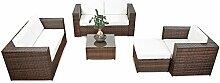 erweiterbares 17tlg. Gartenmöbel Rattan Lounge - braun-mix - Gartenmöbel Sitzgruppe Garnitur Lounge Möbel Set - inkl. Lounge Sofa + Sessel + Hocker + Tisch + Kissen