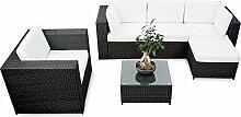 erweiterbares 18tlg. Lounge Set Polyrattan kaufen - schwarz - Sitzgruppe Garnitur Gartenmöbel Rattan Lounge XXL - inkl. Lounge Sessel + Ecke + Hocker + Tisch + Kissen