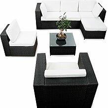 erweiterbares 21tlg. Eck Polyrattan Lounge Set - schwarz - Gartenmöbel Sitzgruppe Garnitur Lounge Möbel Ecke - inkl. Lounge Sessel + Ecke + Hocker + Tisch + Kissen