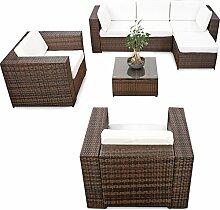 erweiterbares 21tlg. Lounge Möbel Polyrattan Set XXL - braun-mix - Sitzgruppe Garnitur Gartenmöbel Lounge Eck Set - inkl. Lounge Sessel + Ecke + Hocker + Tisch + Kissen