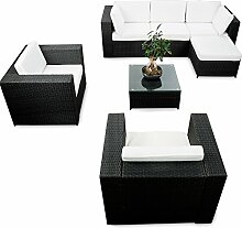 erweiterbares 21tlg. XXL Polyrattan Garten Lounge Möbel Ecksofa - schwarz - Gartenmöbel Sitzgruppe Garnitur Lounge Ecke - inkl. Lounge Sessel + Ecke + Hocker + Tisch + Kissen