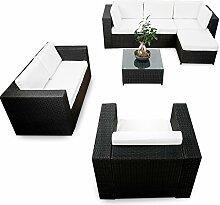 erweiterbares 23tlg. Lounge Möbel Garten Ecksofa Set Rattan - schwarz - Gartenmöbel Sitzgruppe Garnitur Lounge Eck Set XXL - inkl. Lounge Ecke + Sessel + Hocker + Tisch + Kissen