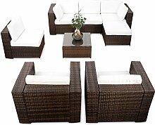 erweiterbares 24tlg. Eck Lounge Gartenmöbel Set XXL - braun-mix - Gartenmöbel Sitzgruppe Garnitur Lounge Möbel Set - inkl. Lounge Ecke + Sessel + Hocker + Tisch + Kissen