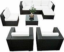 erweiterbares 24tlg. Polyrattan Lounge Eck Set XXL - schwarz - Garnitur Gartenmöbel Sitzgruppe Lounge Möbel Set - inkl. Lounge Ecke + Sessel + Hocker + Tisch + Kissen