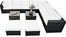 erweiterbares 35tlg. Lounge Polyrattan XXXL - schwarz - Garnitur Gartenmöbel Sitzgruppe Lounge Set Rattan XXXL - inkl. Lounge Sofa + Sessel + Ecke + Hocker + Tisch + Kissen