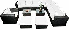 erweiterbares 38tlg. XXXL Gartenmöbel Lounge Set Polyrattan - schwarz - Garnitur Lounge Gartenmöbel Sitzgruppe XXXL - inkl. Lounge Ecke + Sessel + Hocker + Tisch + Kissen