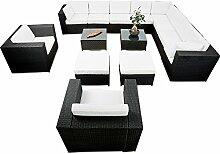 erweiterbares 41tlg. XXXL Lounge Set Polyrattan - schwarz - Sitzgruppe Garnitur Gartenmöbel Lounge Möbel Set - inkl. Lounge Ecke + Sessel + Hocker + Tisch + Kissen