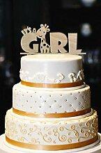 Es ist ein Mädchen Cake Topper, Holz Giraffe Cake