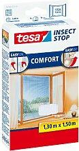esa Insect Stop COMFORT Fliegengitter für Fenster / Insektenschutz mit selbstklebendem Klettband in Weiß / 130 cm x 150 cm