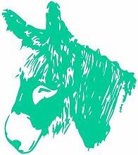 Esel Aufkleber 'Poitou' Eselaufkleber in 6 Größen und 25 Farben (15x16,5cm türkis)