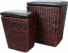 Eshow 2tlg. Rattan Sitzhocker Aufbewahrungsbox Sitzhocker Sitzwürfel Fußbank Aufbewahrungshocker Ottomane Hocker Sitzcube mit Stauraum und Deckel für Wohnraum Garten (Braun03)