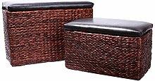Eshow 2tlg. Rattan Sitzhocker Aufbewahrungsbox Sitzhocker Sitzwürfel Fußbank Aufbewahrungshocker Ottomane Hocker Sitzcube mit Stauraum und Deckel für Wohnraum Garten (Braun05)