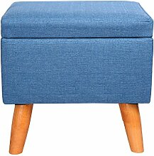 Eshow Sitzhocker Fußhocker Sitzwürfel Sitzbank Fußbank Ottomane Aufbewahrungsbox mit Stauram in Blau01