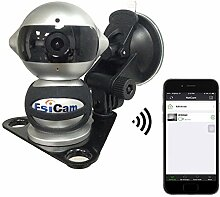 EsiCam Roboter-drahtlose Kamera für intelligentes Telefon HD Zweiwegaudio-Nachtsicht-Warnungs-Aufzeichnung mit magnetischer Einfassung Saugschale, die für Autokamera Fahrzeugsicherung RV Anhänger-EC07