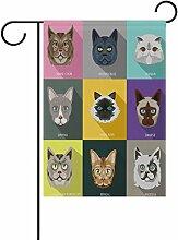 Eslifey Hundeflagge mit niedlichen Katzenköpfen,