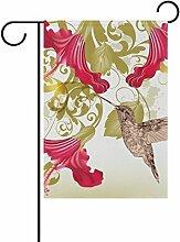 Eslifey Retro Kolibri Blumenflagge Doppelseitig