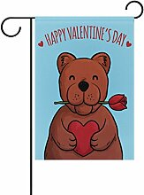 Eslifey Valentinstagsflagge Rosenbär doppelseitig