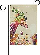 Eslifey Waterfolor Giraffe Schmetterling Blumen