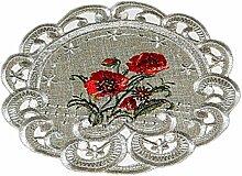 Espamira Tischdecke Antikgrün Mohn Rot Gestickt