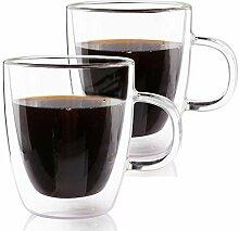 Espresso-Tassen, doppelwandig, Glas, mit Griff,