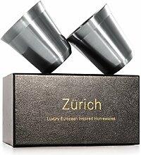Espressobecher von Zurich - 160mL 2er Set - Schöne doppelwandige Tassen aus Edelstahl Farbe Silber für unterwegs, isoliert und robust - perfekt für Kaffee oder Cappuccino