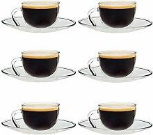 Espressotasse & Untertasse - aus Glas - 60 ml - 6