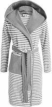 ESPRIT Bademantel Striped Grau mit Kapuze
