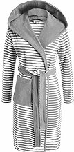 ESPRIT Bademantel Striped Grau mit Kapuze Streifen