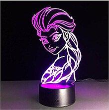 Essar 3D Licht Elsa 7 Farbwechsel Nachtlicht Lampe