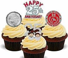 Essbare Cupcake-Aufsätze, 25. Jahrestag (Silberhochzeit), aufrecht stehende Oblaten-Dekoration für Kuchen, silber, 24er-Pack