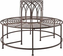 Esschert Design Baumbank aus Metall, 120 x 120 x