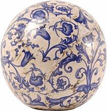 Esschert Design Blau-Weiß Keramik Dekokugel,