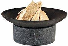 Esschert Design Feuerschale Granito Ringsockel, schwarz, 59x59x23 cm, FF136