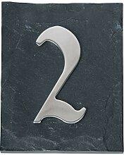 Esschert Design Hausnummer 2 aus Edelstahl,