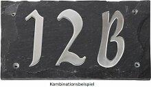Esschert Design Set: Hausnummer 34B aus Edelstahl