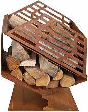 Esschert Design Terrassenofen mit Brennholzfach,