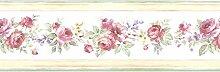 Essener Floral Prints Vinylbordüre PR79652 Weiß Rosa Grün Flieder Gelb Blumen Borte Floral