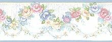 Essener Floral Prints Vinylbordüre PR79656 Blau Beige Weiß Rosa Grün Blumen Borte Floral