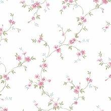 Essener Floral Prints Vinyltapete PR33838 Weiß Rosa Grün Blau Blumen Landhaus Vintage Floral