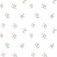 Essener Floral Prints Vinyltapete PR33843 Weiß Rosa Blau Grün Blumen Landhaus Vintage Floral