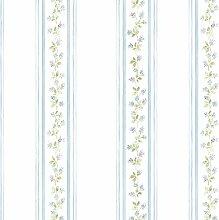 Essener Floral Prints Vinyltapete PR33868 Weiß Grün Blau Lila Blumen Landhaus Streifen Floral