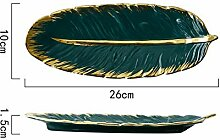 Essenstablett -Art Green Banana Leaf Form Keramik