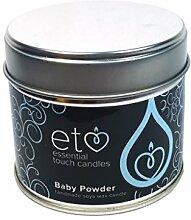 Essential Touch Kerze in Blechdose, Sojawachs, Duft Babypuder, blau